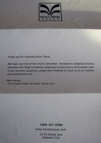 Letter from Kinsly Travel